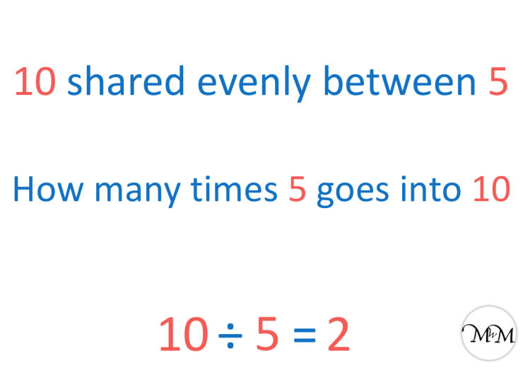 Division to see how many times does 5 go into 10