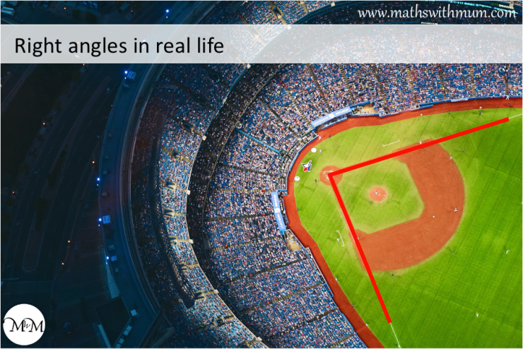 example of a real life right angle on a sports pitch