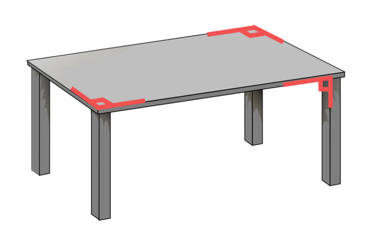 right angles on a table