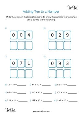 adding 10 to a number worksheet pdf