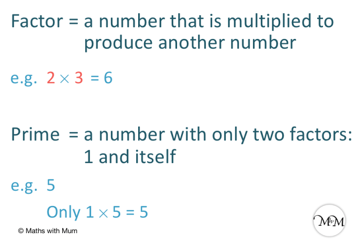 definitions of prime numbers and factors