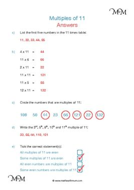 Multiples of 11 worksheet answers pdf