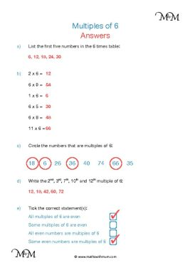 Multiples of 6 worksheet answers pdf