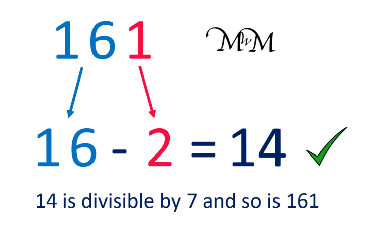 using the rule for multiples of 7, 161 is a multiple of 7