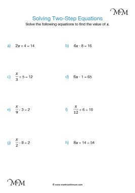 2 step equations worksheet pdf