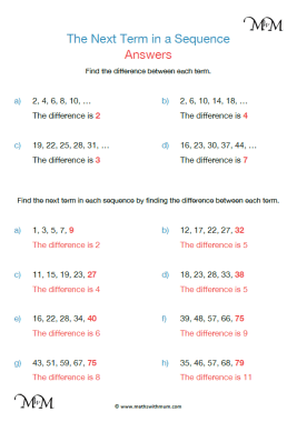 next number in a sequence worksheet answers pdf