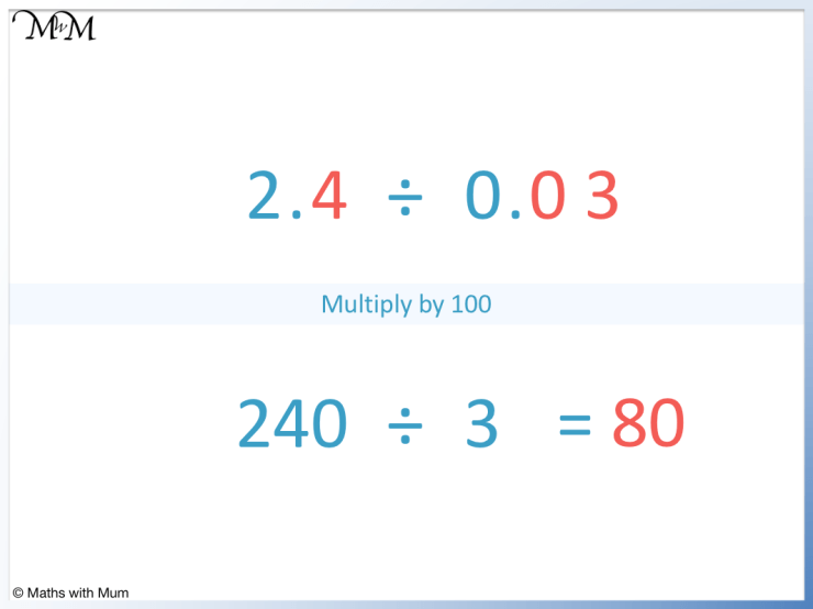 example of dividing decimals without remainders 2.4 ÷ 0.03