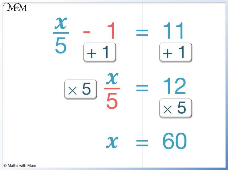 solving a 2-step equation with a fraction example of x/5 - 1 = 11