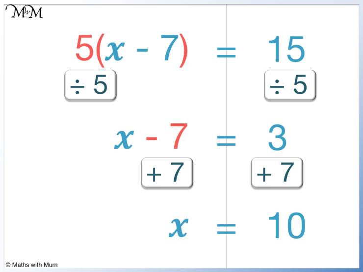 5(x-7)=15 is an example of a 2-step equation with brackets