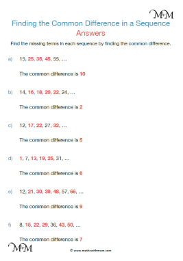 common difference of a sequence worksheet answers pdf
