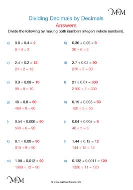 dividing decimals worksheet answers pdf