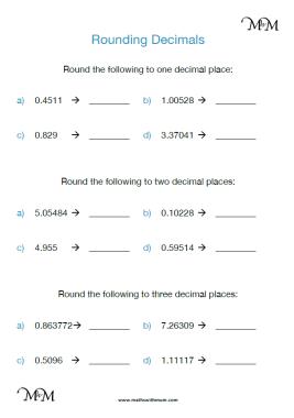 rounding decimals to decimal places worksheet pdf