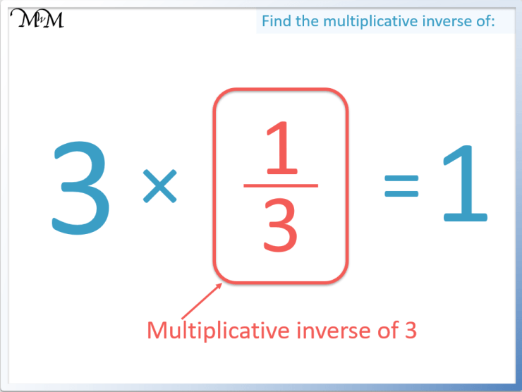 the multiplicative inverse of 3 is 1/3