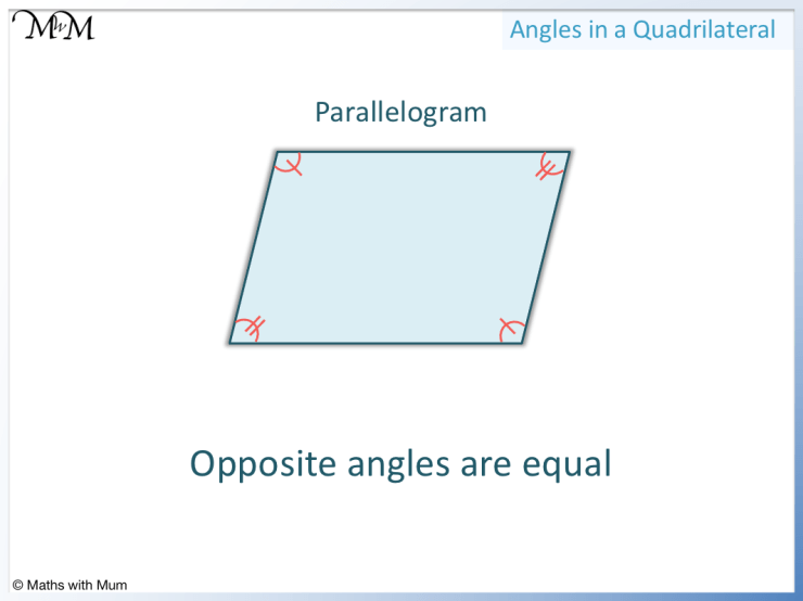 opposite angles in a parallelogram are equal
