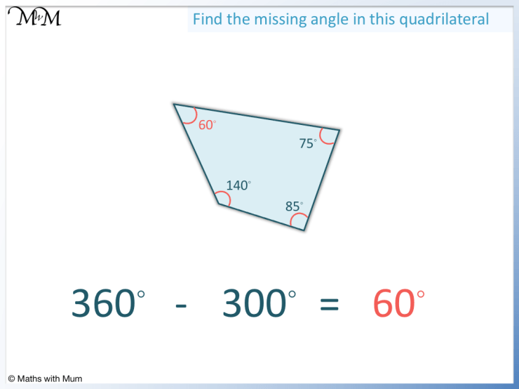how to find a missing angle in a quadrilateral