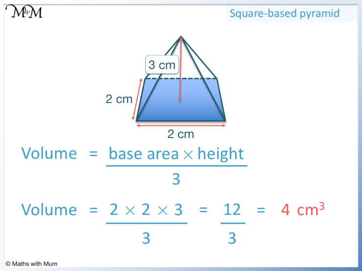 example of finding the volume of a square based pyramid