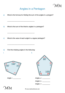 angles in a pentagon worksheet pdf