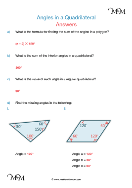 angles in a quadrilateral worksheet answers pdf