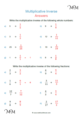 multiplicative inverse worksheet pdf answers pdf
