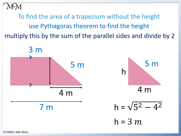 how to find the area of a trapezoid without height