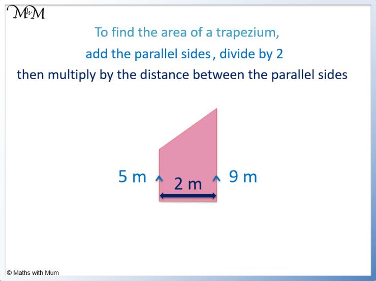 area of a right angled trapezium