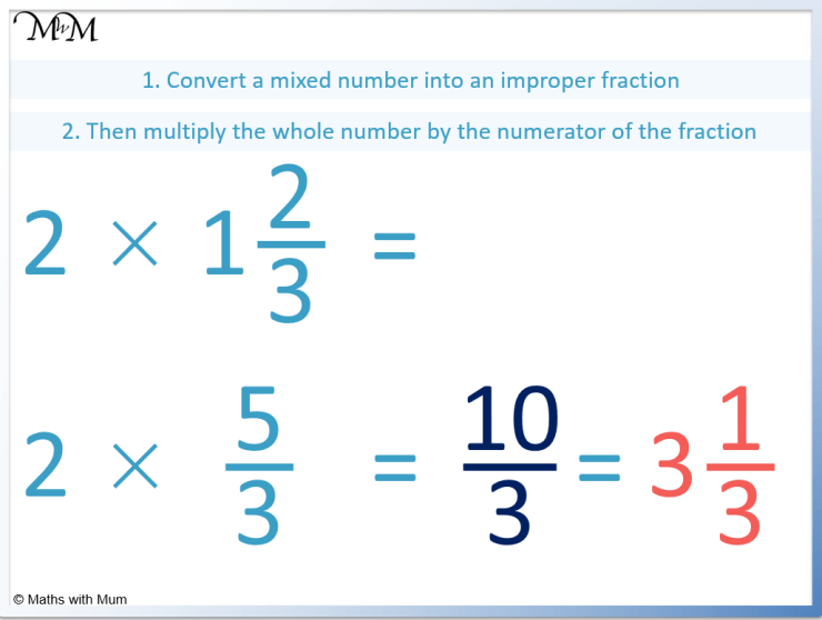 how to multiply a mixed number by a whole number
