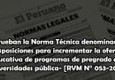 """Aprueban la Norma Técnica denominada """"Disposiciones para incrementar la oferta educativa de programas de pregrado en universidades pública- [RVM N° 053-2021]"""