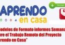 """2 Modelos de Formato informes Semanales sobre el Trabajo Remoto del Proyecto """"Aprendo en Casa"""" -2021"""