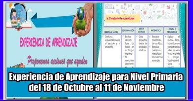Experiencia de Aprendizaje para Nivel Primaria – del 18 de Octubre al 11 de Noviembre [Descarga aquí]