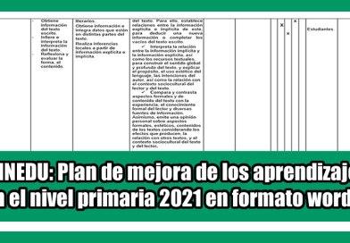 MINEDU: Plan de mejora de los aprendizajes en el nivel primaria 2021 en formato word.