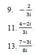 Dividing Complex Numbers Worksheet (pdf) and Answer Key