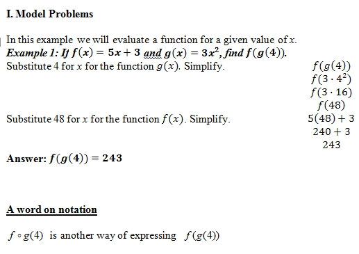 Composition of Functions of worksheet (pdf) and Answer Key