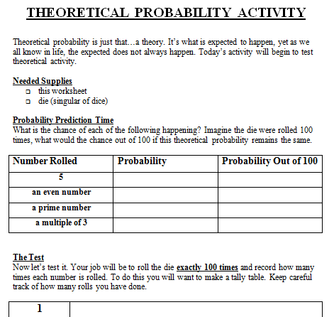 Theoretical And Experimental Probability Lesson Plan 7th