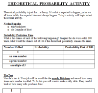 Theoretical and Experimental Probability Lesson Plan 7th ...