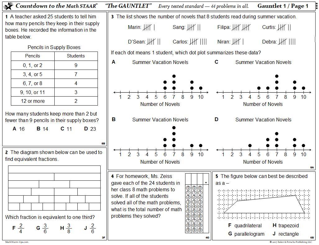 Staar Test 5th Grade Math Worksheets