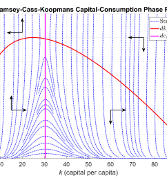 figure 1 phase portrait of the ramsey cass koopmans system of ordinary differential equations  [ 1379 x 862 Pixel ]