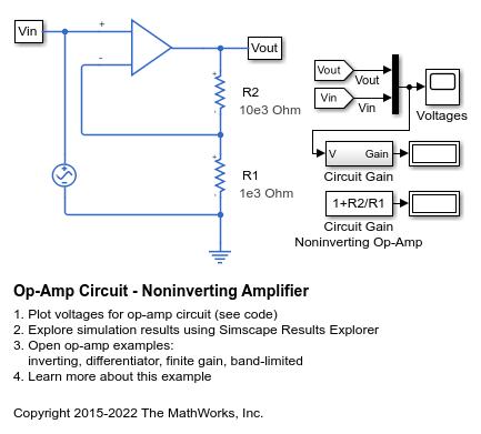 circuit diagram of non inverting amplifier dimming ballast wiring op amp noninverting matlab simulink