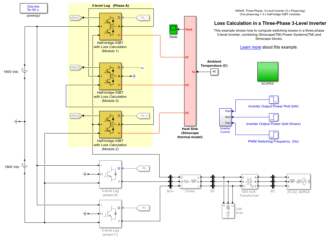 hight resolution of loss calculation in a three phase 3 level inverter matlab simulink block diagram reduction