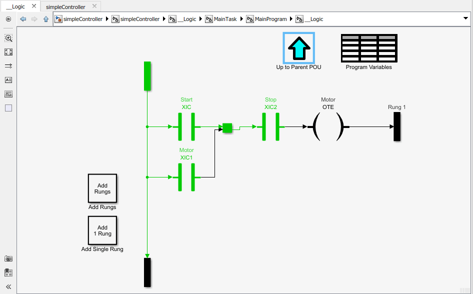Modeling and Simulation of Ladder Diagrams in Simulink