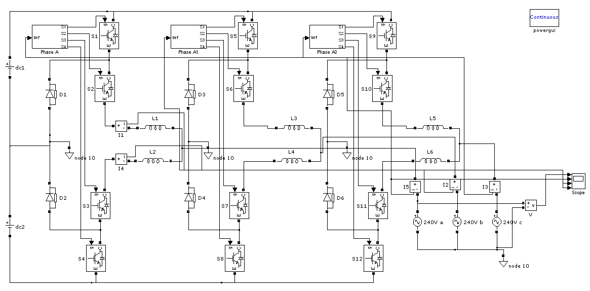 NPC three level inverter with hysteresis current control