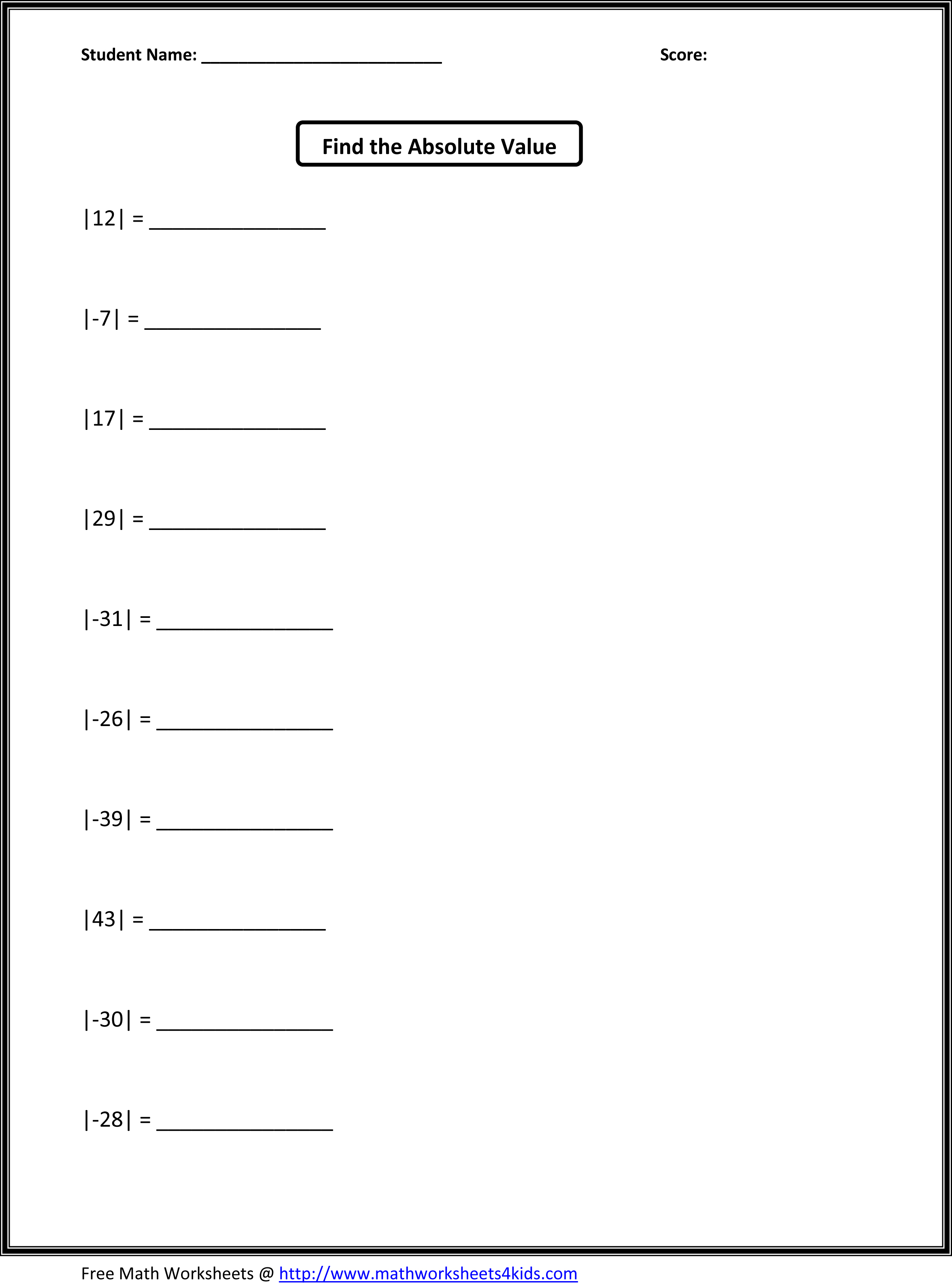Decimals Math Worksheet For Grade 5