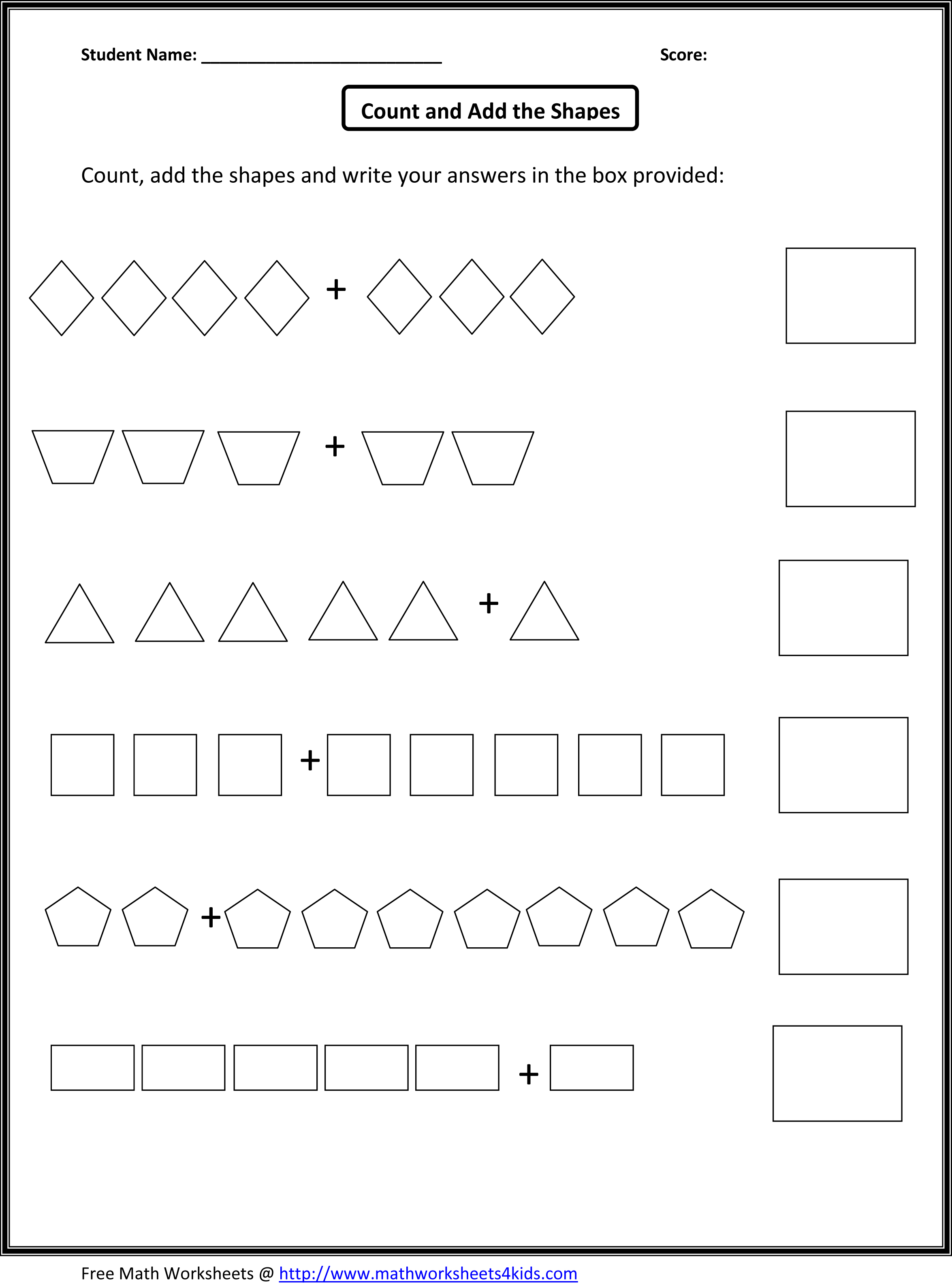 Adding Worksheets For Kindergarten Thworksheets4kids Images
