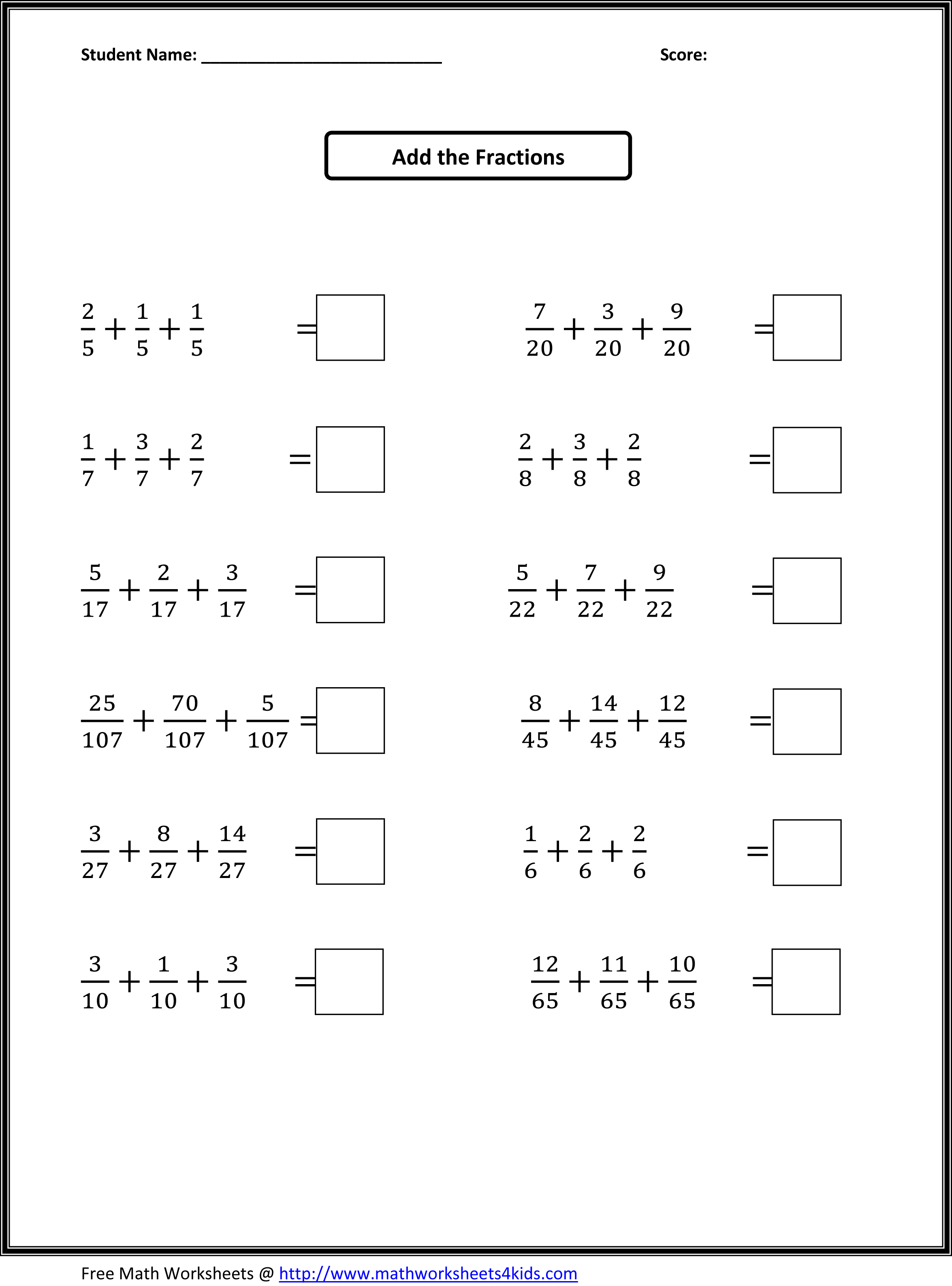 Fraction Worksheets 4th Grade