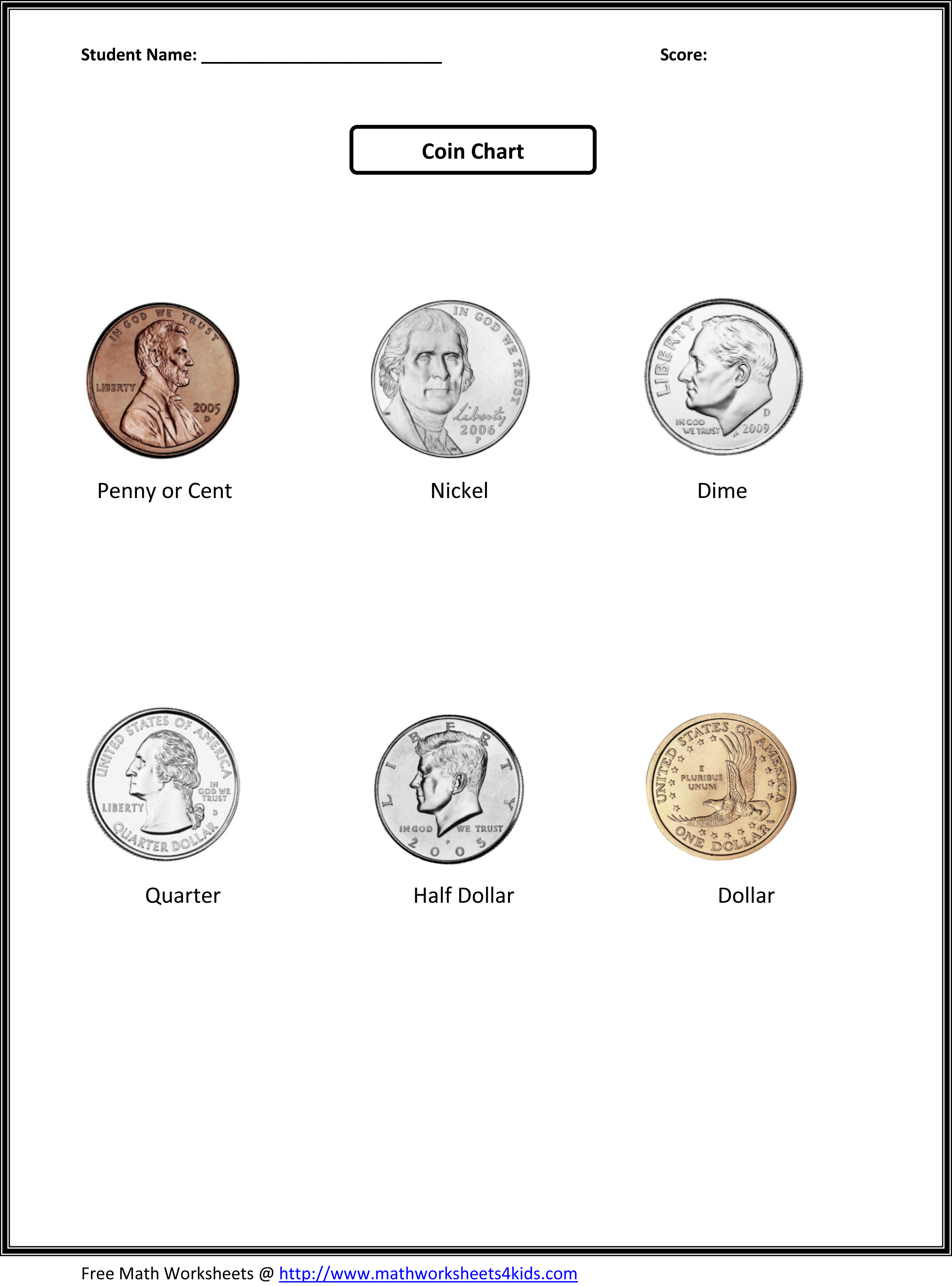 Coin Sheets For Kindergarten Csno Coin Quest Builder