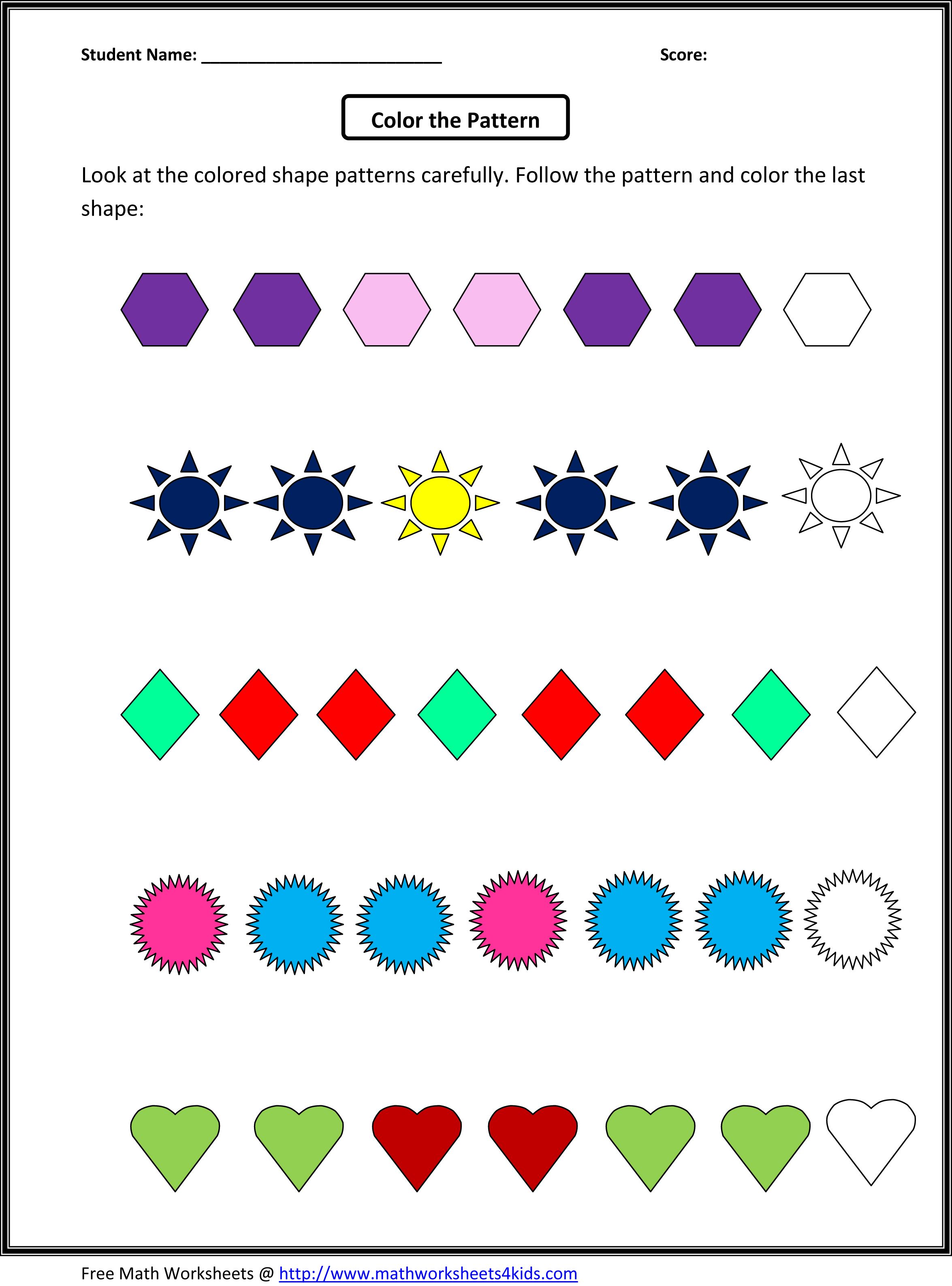 Math Patterns Grade 4 Free Patterns