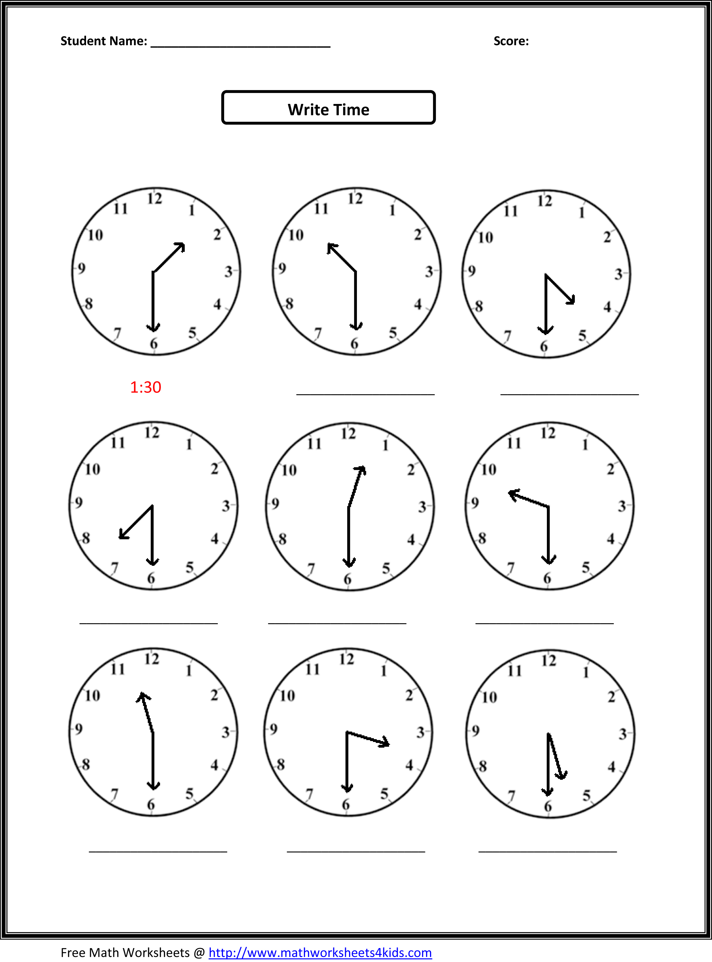 Worksheet For Telling Time For Grade 3