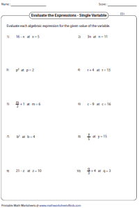 Solving Algebraic Expressions Worksheets Free Worksheets
