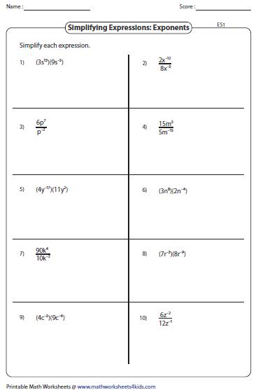 Simplifying Algebraic Expression Worksheets