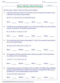 Mean, Median, Mode and Range Worksheets