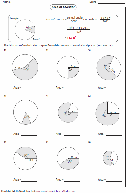 Arc length and Area of Sector Worksheets